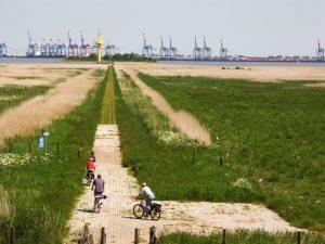 Radfahrer gegenüber von Bremerhaven